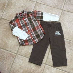 Carter's Boys LS Plaid Button Down Shirt & Pants